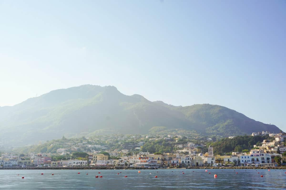 Ischia from a yacht. Ischia in October